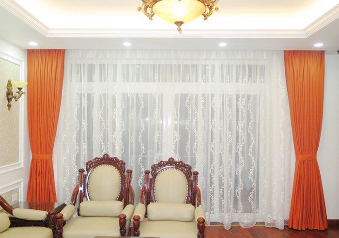 Hình ảnh thực tế Rèm vải thô, trơn RTM 18031-48 tại nhà khách