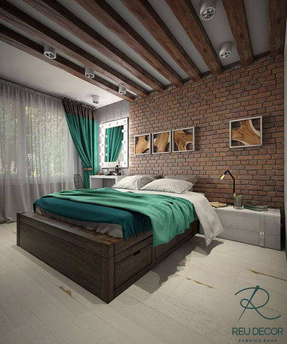 Rèm phòng ngủ tone màu xanh rêu