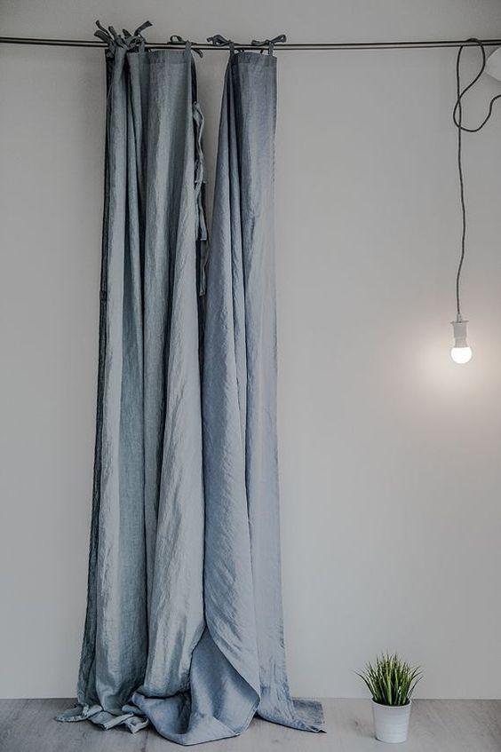 Hình ảnh rèm vải bố linen RCH-Aqua Blue