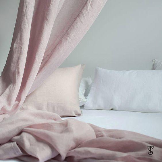 Rèm vải bố linen RCH-pastel pink trang nhã