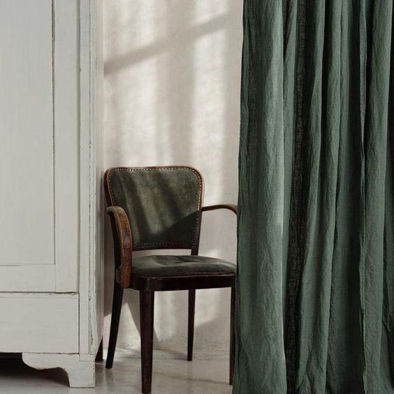 Rèm vải bố linen tone xanh rêu