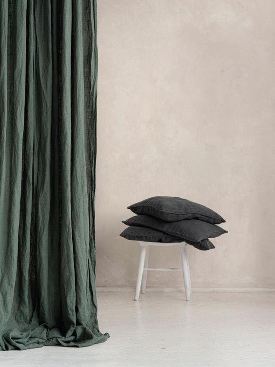 Rèm vải bố linen RCH-safari greenphòng ngủ