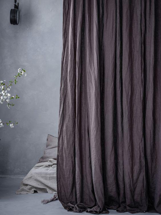 Rèm vải bố linen RCH-violet plum nhập khẩu