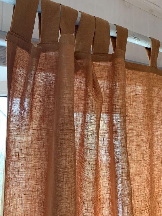 Rèm vải linen, bố RCH-Golden Orange