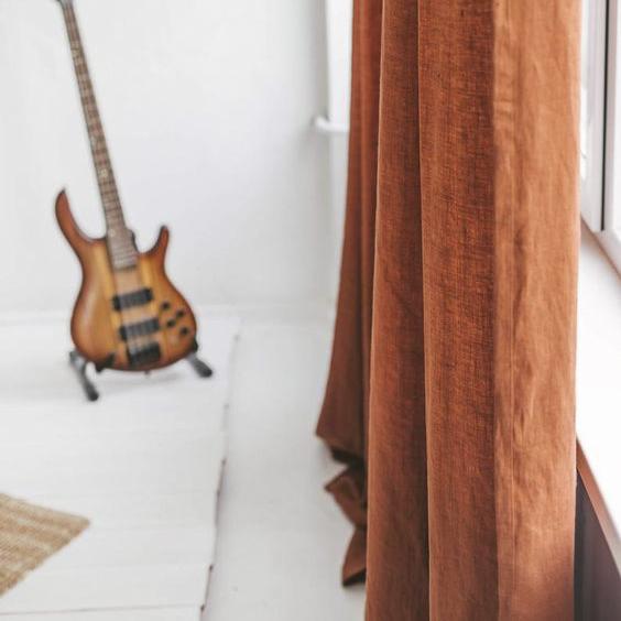 Hình ảnh rèm vải linen, bố RCH-Golden Orange