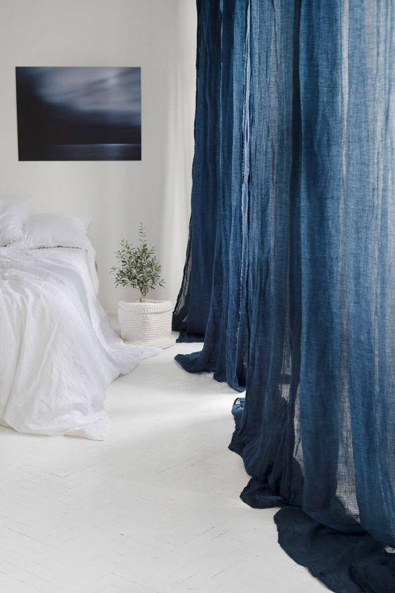 Hình ảnh rèm vải linen, bố RCH-Night Blue